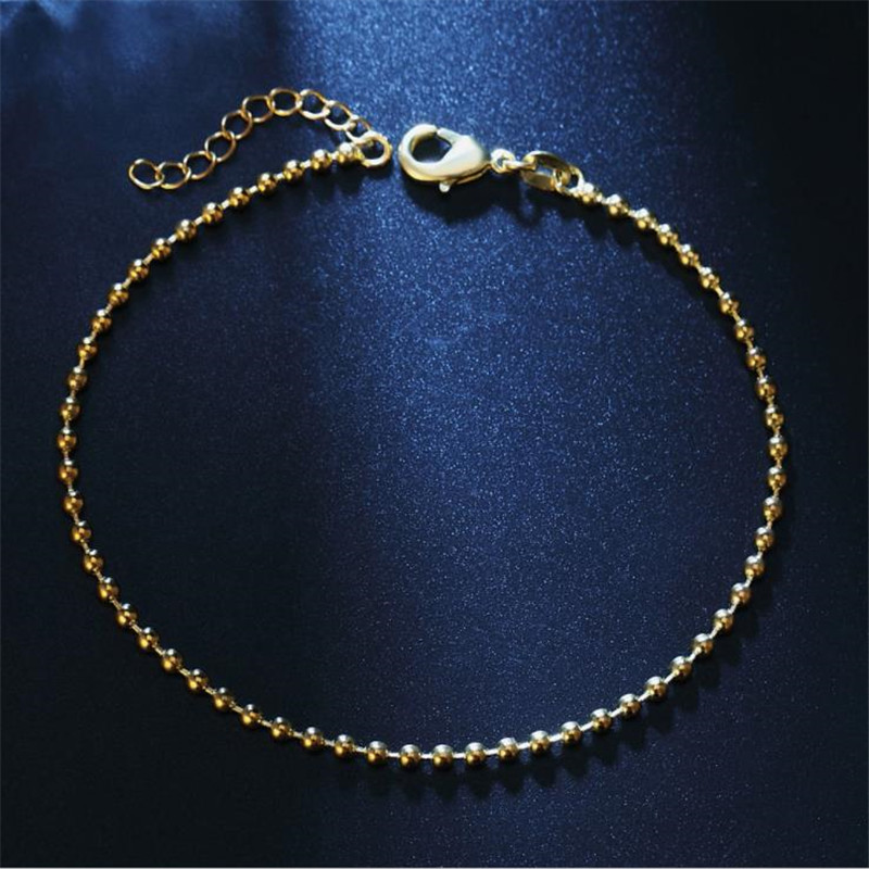 TJP Popular Gold Chain Female Bracelets Jewelry Fashion Silver 925 Anklets For Women Party Accessories Girl Christmas Gift Lady in Anklets from Jewelry Accessories