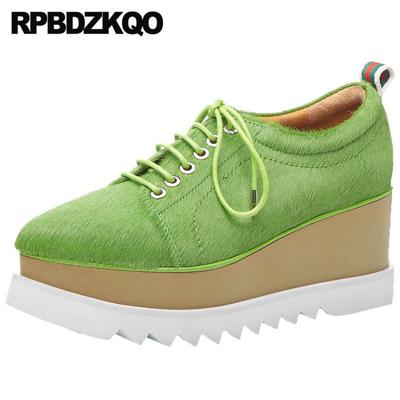 Designer Shoes Women Luxury 2019 Muffin Thick Sole Platform Elevator Japanese School Green Wedge Pointed Toe Lace Up CreepersDesigner Shoes Women Luxury 2019 Muffin Thick Sole Platform Elevator Japanese School Green Wedge Pointed Toe Lace Up Creepers