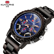 KUNHUANG Full Black Fashion Blue Dial Sport Wooden Quartz Wrist Watches Men Watch Woody Band Bangle Souvenir Gifts Timepieces цена и фото