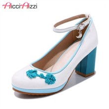 ZALAVOR Plus Size 28-52 Ankle Strap Women Pumps Round Toe Ethnic Style Square Heels Shoes Daily Club Brand Women Footwear(China)
