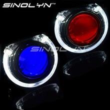 2.5 inch HID Car Bi xenon Projector Lens Headlight LED Angel Eyes Halo DRL W/WO Demon Devil Eyes Headlight Retrofit H1 H4 H7