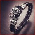 Новая Мода Панк Браслет Неподдельной Кожи мужчин, прохладный Скелет Череп Браслеты браслеты мужчин, шарм Braclet для Женщин Человек Ювелирные Изделия