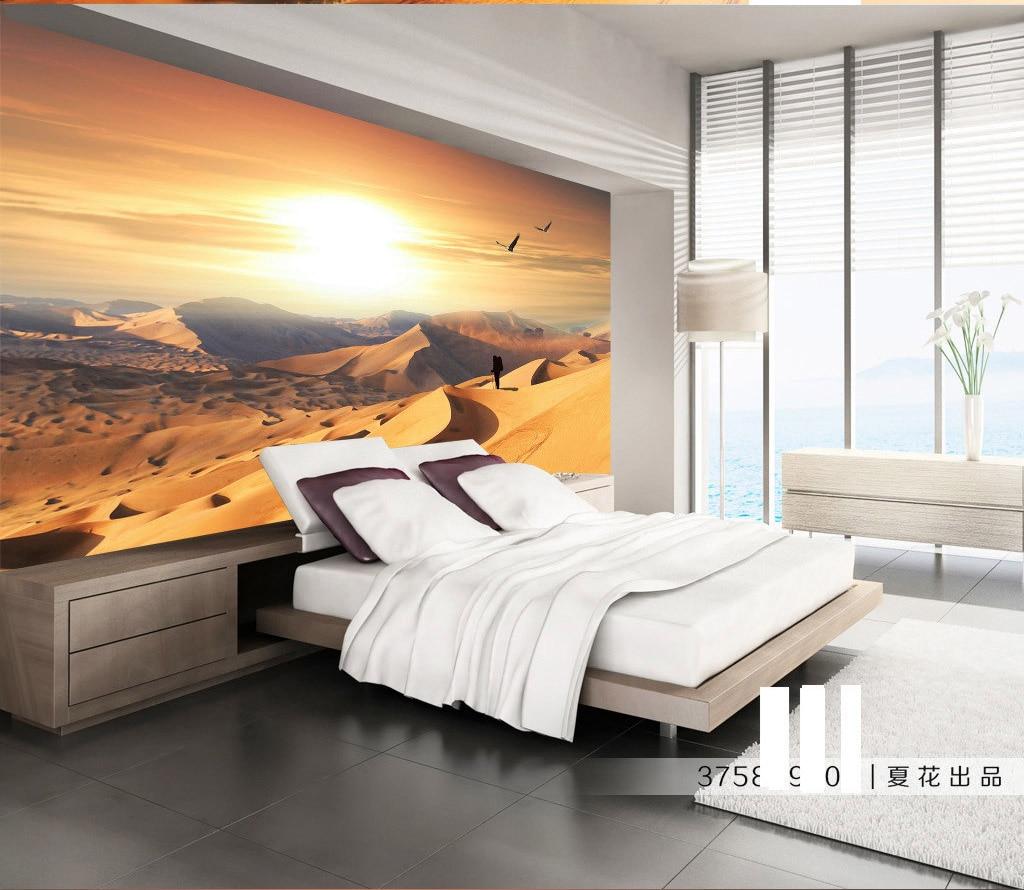 Desert View 3D Stereoscopic Ruang Alami Wallpaper Untuk Dinding 3