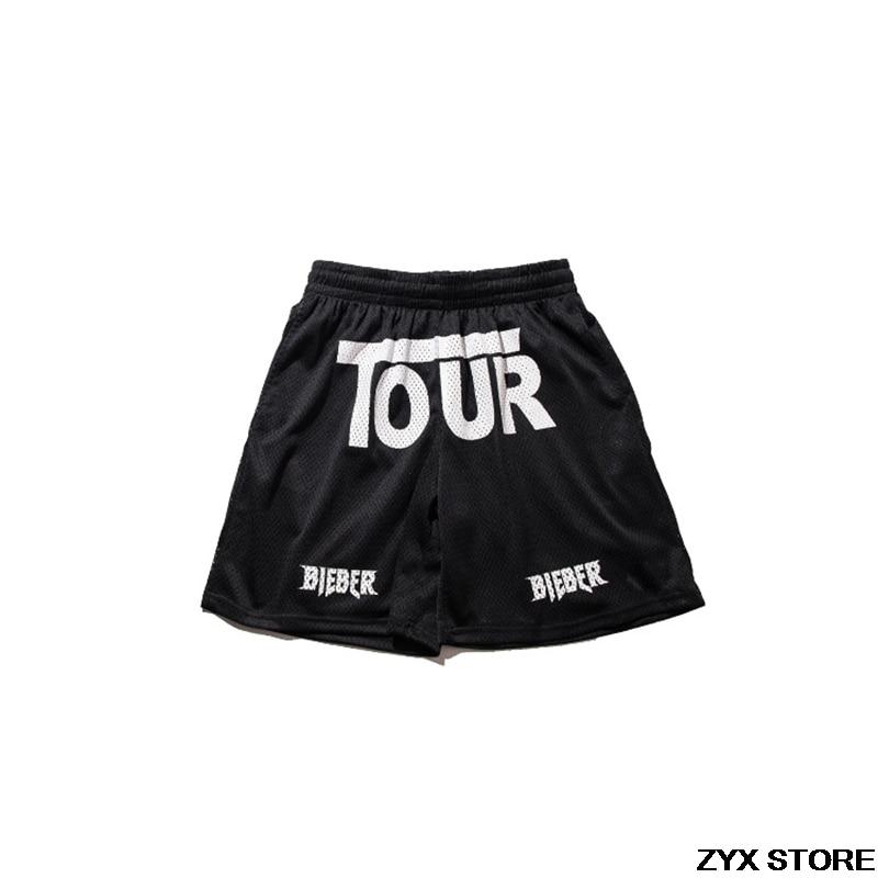 2017 Best Version JUSTIN BIEBER TOUR mesh breathable men Shorts hiphop Fashion Casual Purpose Tour Shorts