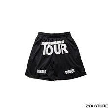 2017 лучший вариант Джастин Бибер Тур сетки дышащая мужская Шорты хип-хоп моды случайные Purpose Tour Шорты туман уличная