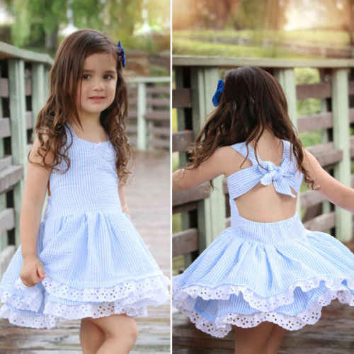 Toddler Baby Girl Lace Stappy Dress Kids Girl Party Wedding Summer Tutu Dresses