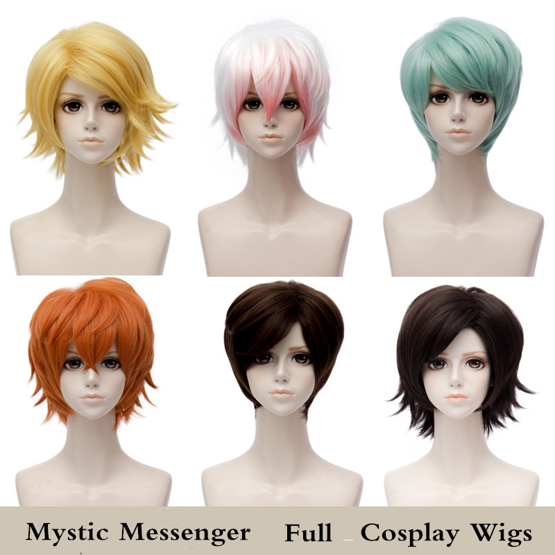 Game Mystic Messenger Jumin,unknown,yoosung,jaehee,ZEW,V,707 Cosplay Wigs and Wig Cap Halloween,Stage Short Hair High quality