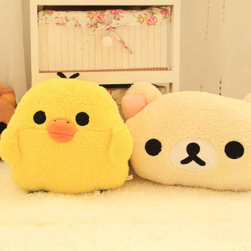 FoPcc 30x25cm plush cartoon rilakkuma yellow chicken hand warmer pillow, stuffed animal cushion, happy birthday gift for girls