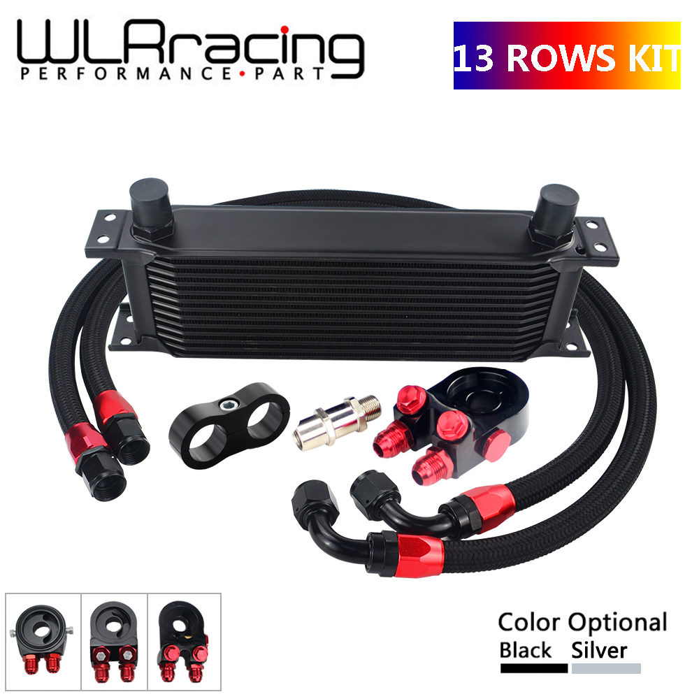 AN10 UNIVERSAL 13 ROWS OIL COOLER KIT OIL FILTER SANDWICH ADAPTER NYLON STAINLESS STEEL BRAIDED AN10
