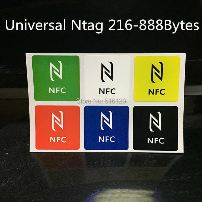 (6 Pcs) tag NFC Stiker Ntag216 Ndef 13.56 MHz RFID Smart Kunci Label Kartu untuk Semua NFC Ponsel Android