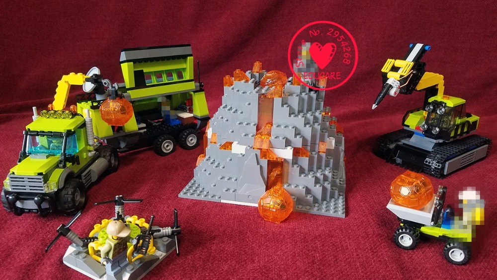 New Volcano Exploration Base Geological Prospecting fit legoings city figures 60124 model Building Block Bricks Toy gift kid boy a toy a dream 10641 city series volcano exploration base geological prospecting building block bricks toys gift for children