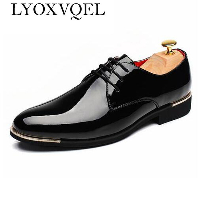 Mens Shoes Pointed Toe Dress Glossy Wedding Shoes Patent Leather Casual  Solid Luxury Brand Oxfords Shoes Plus Size 47 48 M151 ccf8da28a46b