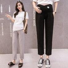 Модные женские брюки из хлопка для беременных; сезон весна-лето; черные, серые, розовые брюки для беременных; регулируемые брюки для беременных