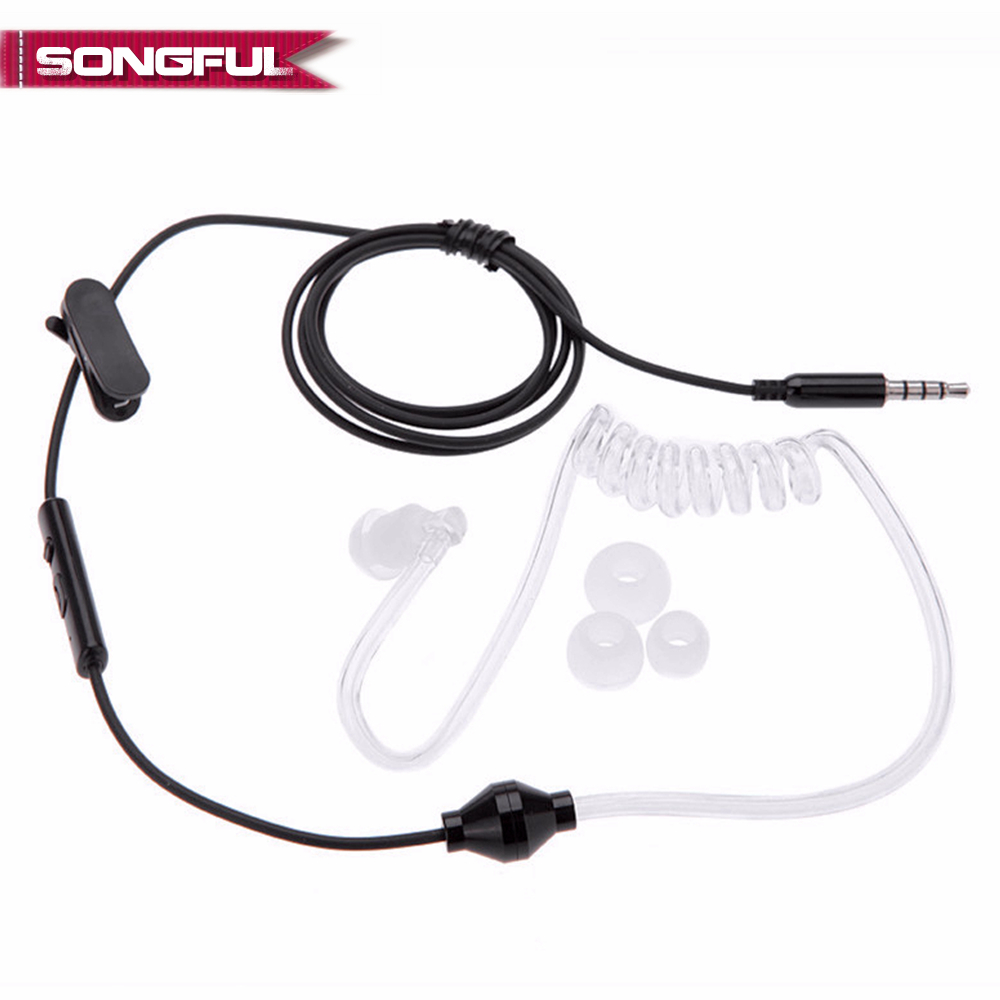Acoustic Radiation Protection Anti-Radiation FBI Headphones Air Tube Handsfree Earphone With Microphone Volume Control Ear Hook