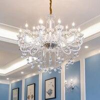 French designer Large glass Chandelier clear crystal pendants for Living Room Restaurant Led Chandelier Lighting E14 Led Lustres