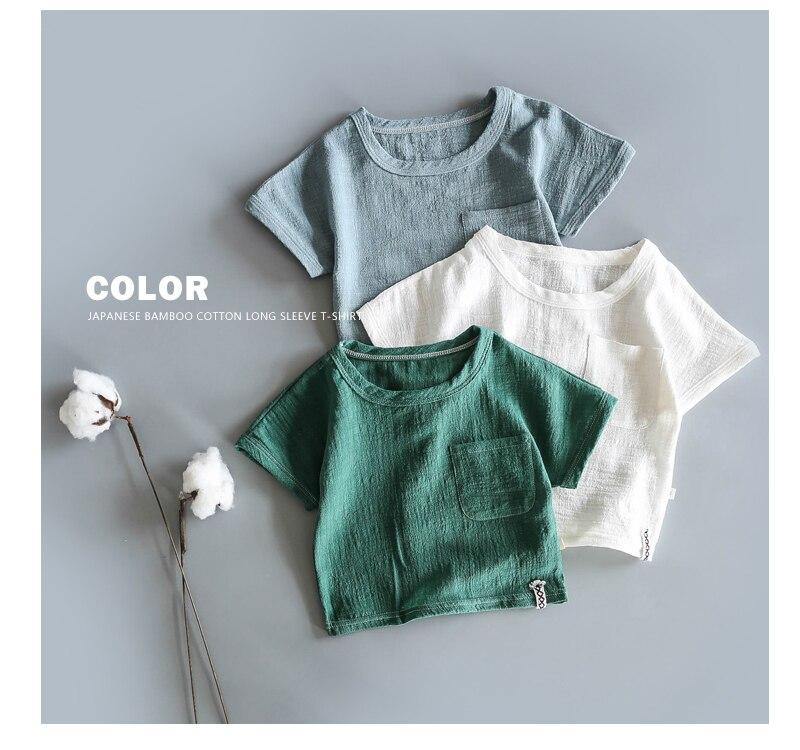 Японская хлопковая тонкая футболка в стиле ретро с коротким рукавом из конопли для малышей летняя рубашка из бамбукового хлопка с коротким рукавом для мальчиков и девочек