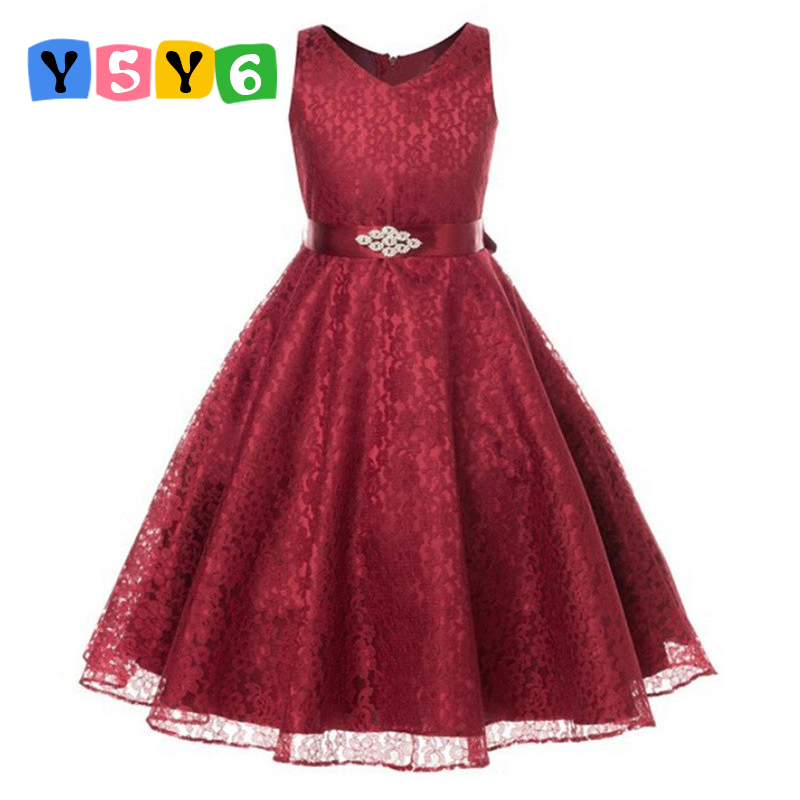 girls party wear dress kids 2018 summer sleeveless lace girls princess wedding dress teenagers kids party prom gowns 4 - 12years 2018 winter girls fancy mini floral party wear clothing for children sleeveless lace princess wedding dress prom dress for teens