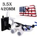 Envío Gratis A EE.UU. Desde EE. UU. Estrenar Portátiles Lupas Dentales quirúrgica Gafas Binoculares 3.5x420mm + LED Luz de la Cabeza Negro R + S