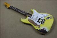 Custom Shop classical st relic guitar,master build cream yellow cover retro sunburst color,handmade aged st guitar,real pictures