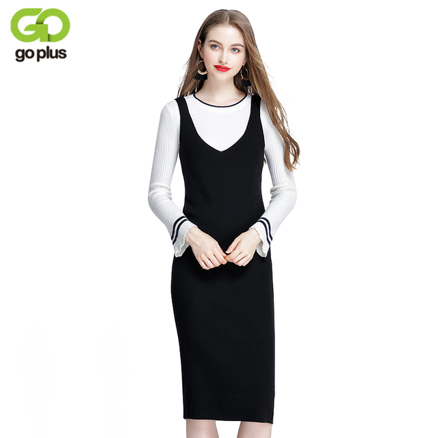 5ce4ee85e8 GOPLUS 2018 Spring Autumn Ribbed Knit Sweater Dress Black Off Shoulder  Women Slim V Neck Bodycon Long Dresses C4798
