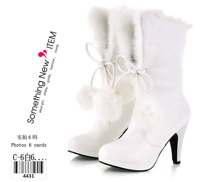Free Shipping high heels thick heel women fashion rabbit fur martin boots  snow boots pink white black wedding shoes-in Ankle Boots from Shoes on ... 9a54f4fd4ad0