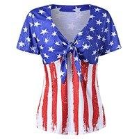 CharMma Más El Tamaño 5xl Ropa de La Bandera Americana de La Camiseta de Las Mujeres Cortas manga Sexy Cuello En V de Gran Tamaño T Shirt Tamaño Grande Top Femme