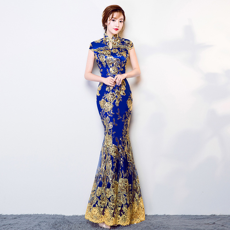Blue Wedding Party Cheongsam Oriental Evening Dress Chinese Traditional Womens Elegant Qipao Sexy Lace Long Robe