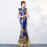 Blue Wedding Party Cheongsam Oriental Evening Dress Chinese Traditional Womens Elegant Qipao Sexy Lace Long Robe Retro Vestido