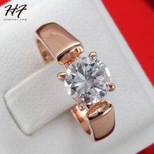 Corte redondo anillos de Zirconia cúbico 4 puntas de oro Color de rosa de cristal joyería de la boda de moda para hombre y mujeres Anel r054