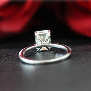 Image 4 - Anillo de compromiso de moissanita con corte de Esmeralda, oro blanco de 14 quilates, moissanita, compromiso, aniversario