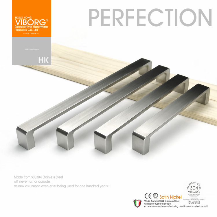(3 pieces)192mm VIBORG Deluxe Solid Sus304 Stainless Steel Casting Modern Kitchen Cabinet Cupboard Door Drawer Handles Pulls fixed full overlay sus304 stainless steel damping hinge for kitchen bedroom living room cupboard door