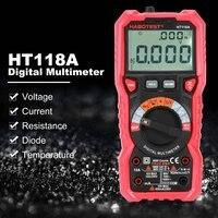 디지털 멀티 미터 HT118A HT118C HT118D 백라이트 버저 AC DC 전류계 전압계 옴 온도 측정기 데이터 홀드 배터리 테스트