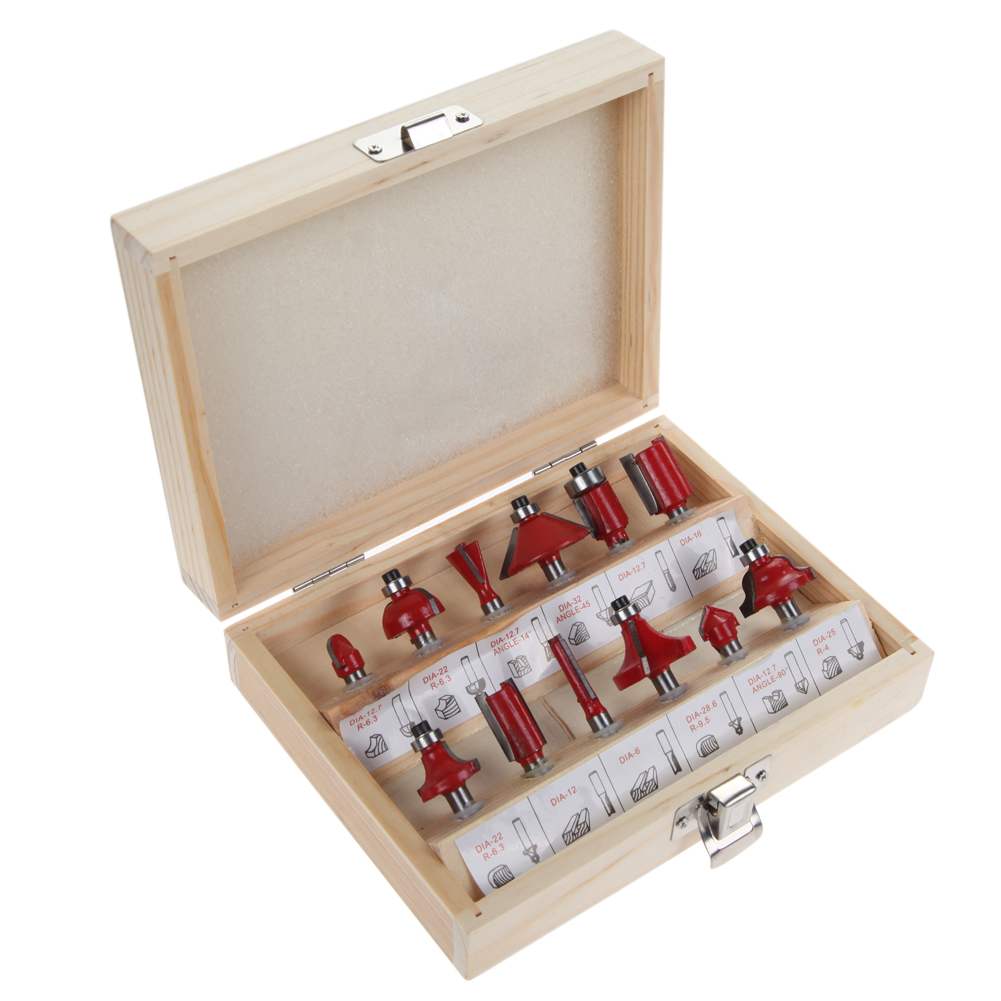 DIY 12pcs 1/4 Professional Router Bits Set Shank Tungsten Carbide Router Bit Cutter Set With Wood Case For Woodworking Tool Kit high grade carbide alloy 1 2 shank 2 1 4 dia bottom cleaning router bit woodworking milling cutter for mdf wood 55mm mayitr