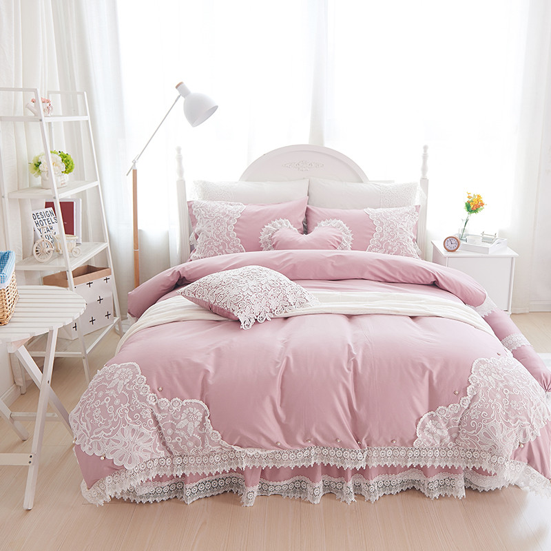 100% Cotton Soft Bedclothes Princess Style Lace Bedding Set King Queen Twin Size Girls Bed Skirt Duvet Cover Set  Pillowcases