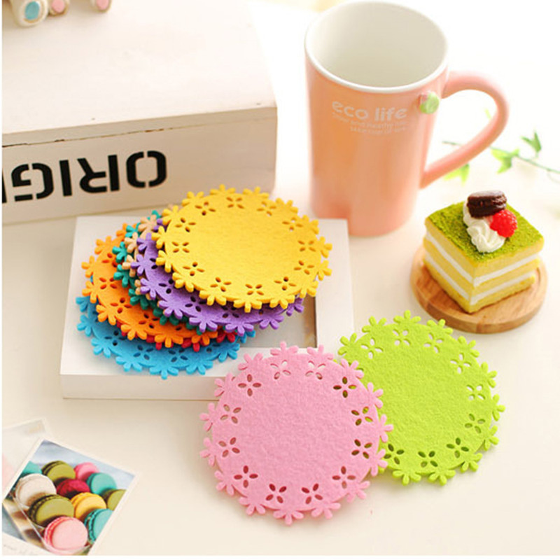 New fashion creative kitchen drink tea coffee cup mug hollow lace floral insulation felt coaster placemat table mat candy color