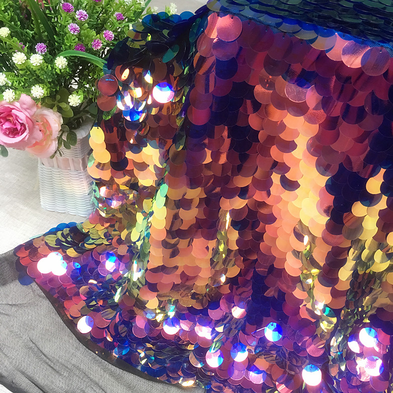 Golden Fantasy Laser Color Green Purple Fish Scales Sequins Fabric Tela Party Background Clothing Mesh Fabric for Dress
