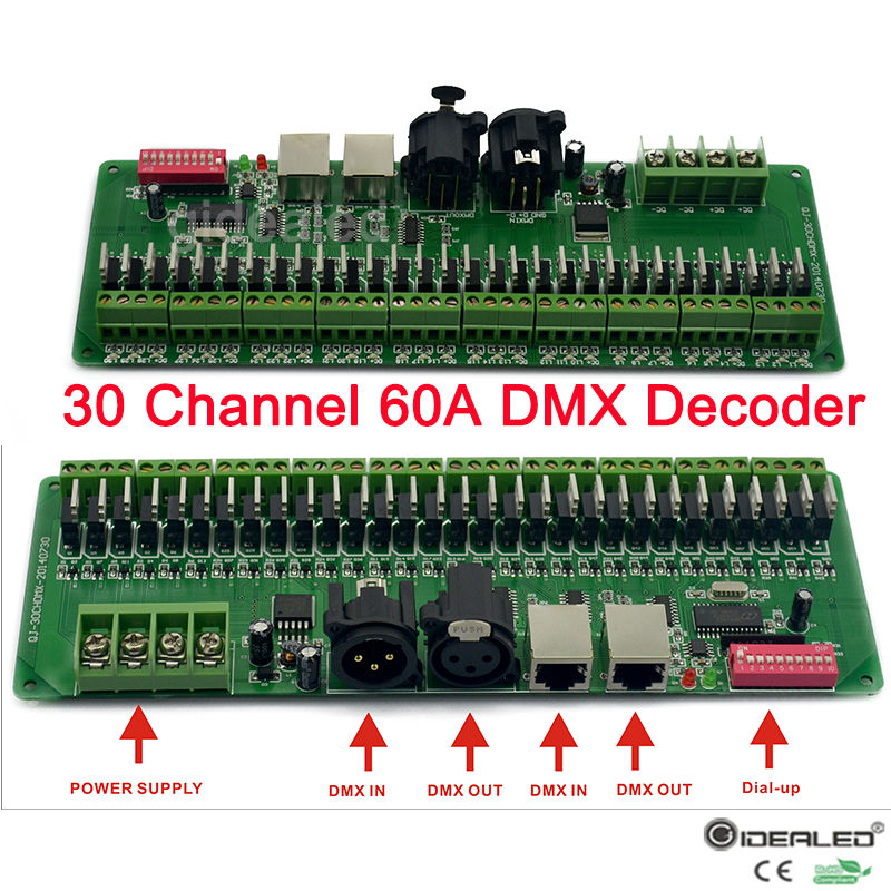2-Pack 30channel RGB Decoder & Dimmer LED driver 60A Strip lights DMX512 Controller input DC9-24V