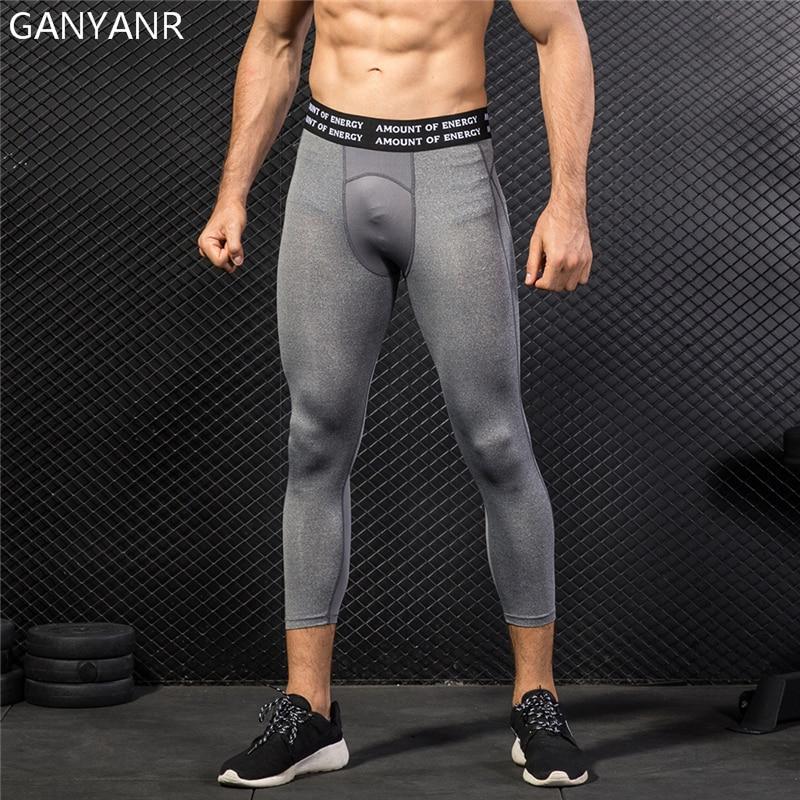 6e65428eddd7c GANYANR Running Tights Men Yoga Basketball Leggings Fitness Compression  Pants Gym Athletic Sport Skins Bodybuilding 3