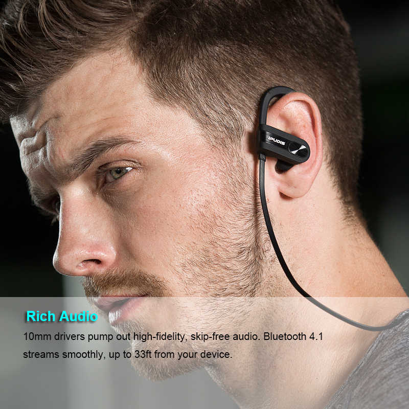IPUDIS 110 mAh IPX7 للماء بلوتوث سماعة الرياضة سماعات لاسلكية المحمولة سماعات الأذن سماعة مزودة بميكروفون