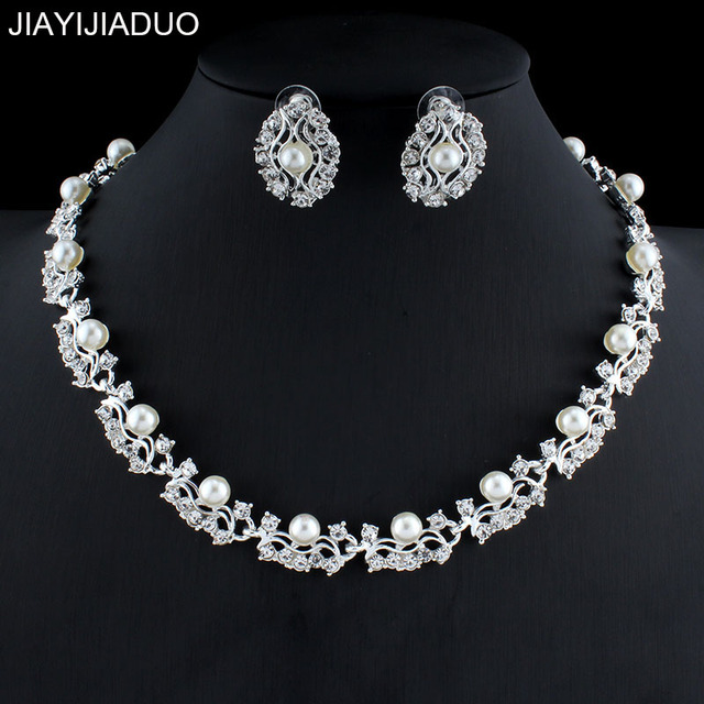 bfffd60c23fb0a jiayijiaduo Hot Imitation Pearl Wedding necklace earring set Bridal jewelry  set for women Elegant Party Gift Fashion Costume