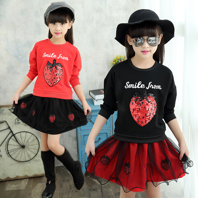 Spring Summer Girls Clothing Sets Sweatshirt + Skirt 2pcs Kids Girl Set Children Wear Baby Clothes Girls Outfit 2pcs/set