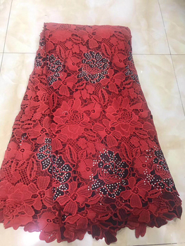 High Quality African Lace fabric Hot Sail Mesh lace New Arrival Red white Color african cord Lace /guipure lace Fabric LYY936A