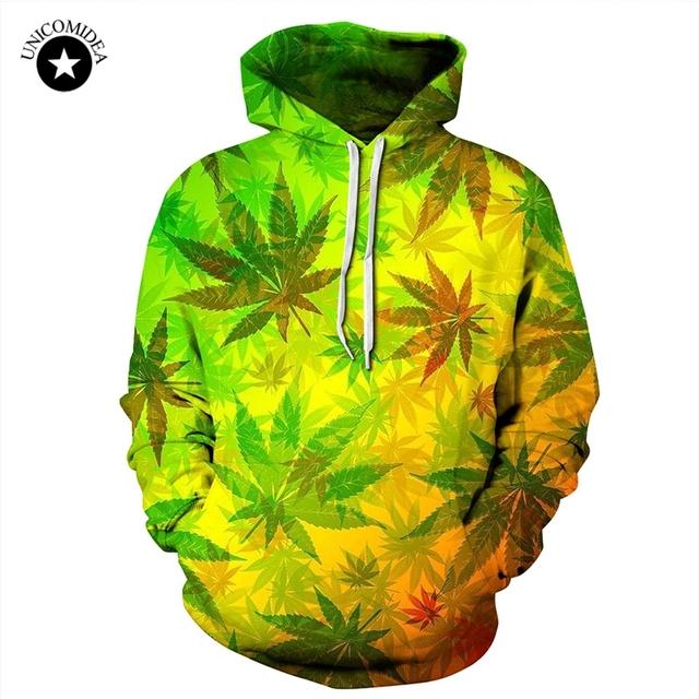 Unicomidea 3d Hip Hop Weed Leaf Printed Hoodie