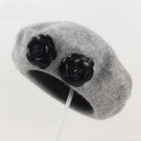 Beckyruiwu Good Quality Woolen Painter Caps Girl Lovely Flower Knitting Hat Woman Autumn And Winter Pure