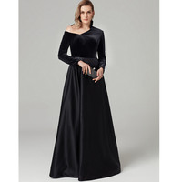 TS Couture A Line One Shoulder Floor Length Satin / Velvet Cocktail Party / Formal Black Tie Gala Graduation Dresses