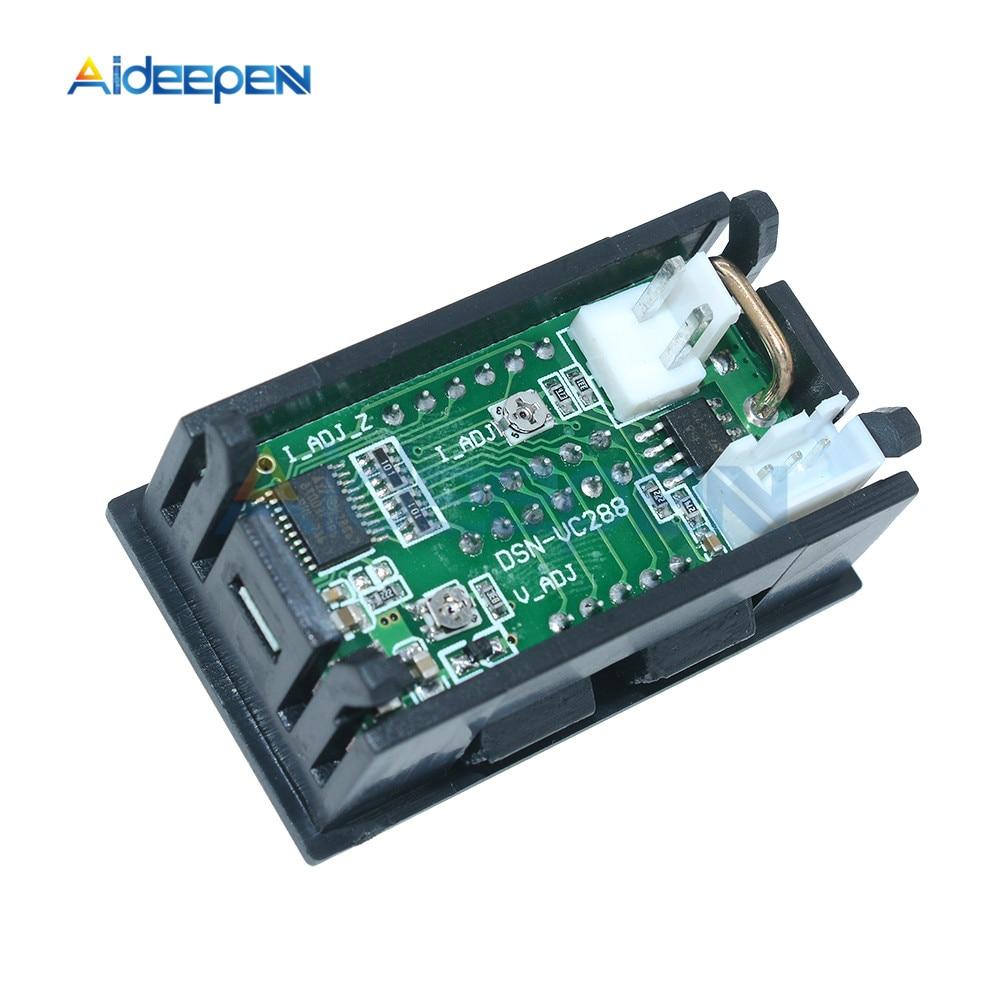 """Mini Digital Voltmeter Ammeter DC 100V 10A Voltmeter Current Meter Tester 0.28"""" 0.28 inch Blue+Red LED Amp Dual LED Display 12"""
