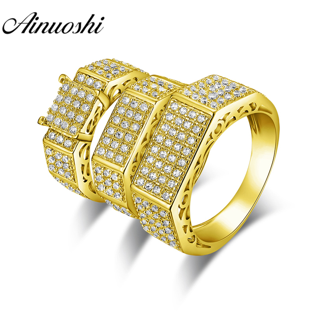 AINUOSHI 13.7g Real Gold TRIO Rings Set Engagement Jewelry 10K Yellow Gold Couple Wedding Rings Geometric Band Cluster Rings Set