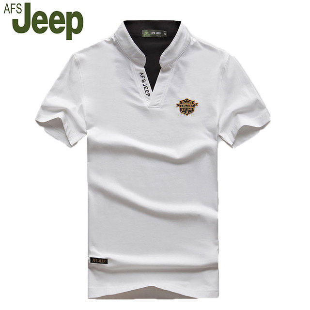 2016 New Afs Jeep / Battlefield Jeep Men's V-neck short-sleeved polo shirt big yard and a half men POLO shirt blouse 55