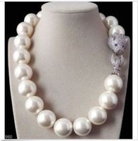 Free Shipping >>>>>gorgeous huge 16mm south sea round white shell pearl necklace 18inch 14k