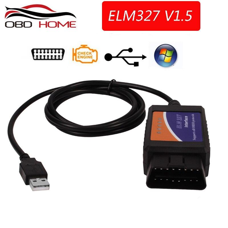 ELM327 v1.5 USB Interface de diagnostic multimarque OBDII Scanner PC Windows